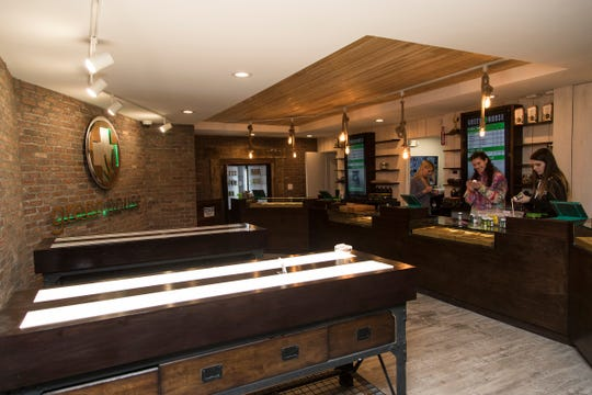 A reception room with two bud bars is featured at the Greenhouse in Walled Lake, Thursday, Jan. 31, 2019.