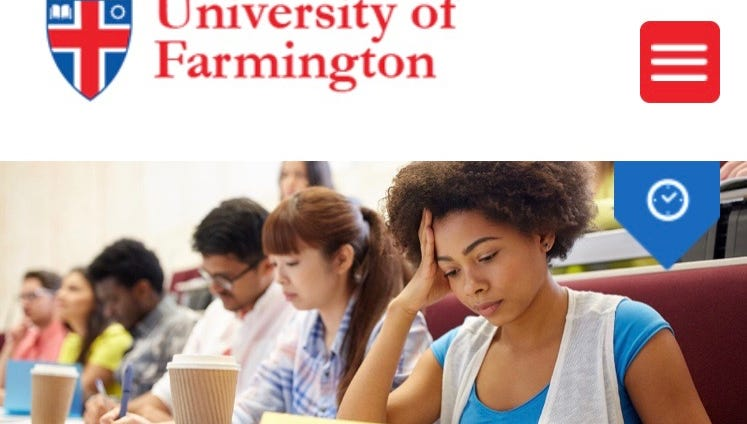 Website of the University of Farmington in Farmington Hills, Michigan. Prosecutors say it is a fake university set up by the Dept. of Homeland Security.
