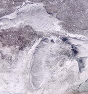 A satellite image of Michigan during the polar vortex, taken Jan. 31, 2019.