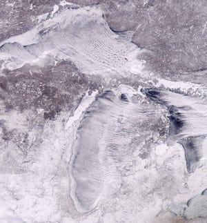 A satellite image of Michigan during the polar vortex, taken Jan. 31, 2019.