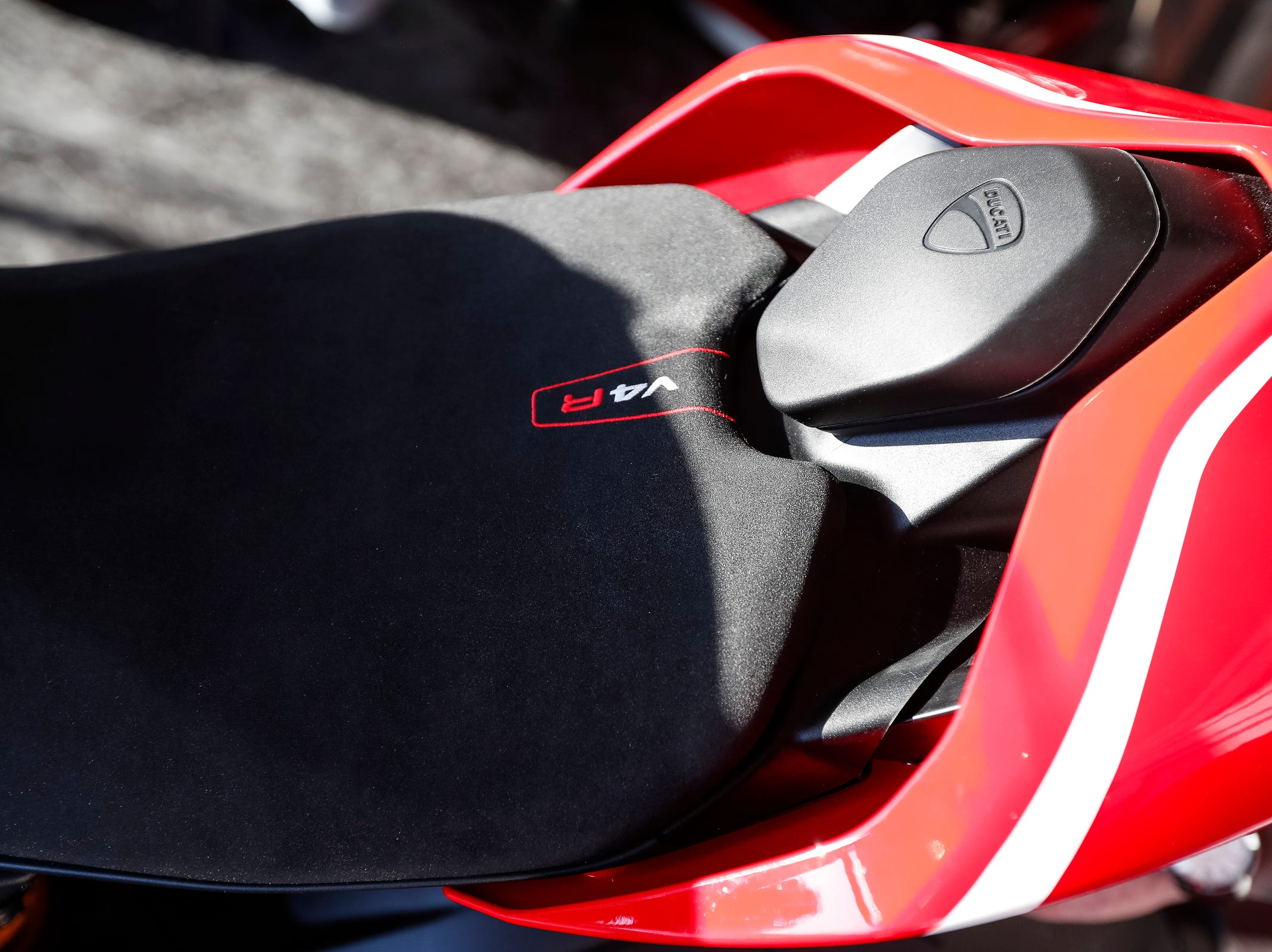 The seat of the Ducati 2019 Panigale V4 R.