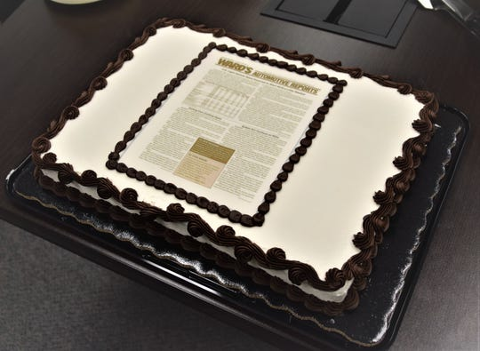 A cake decorated to look like the final issue of Ward's Automotive Reports: Jan. 28, 2019.
