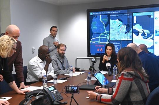 Governor Gretchen Whitmer holds an update meeting and then answers a few questions from the media at the State Emergency Operations Center near Dimondale, on Thursday, January 31, 2019.