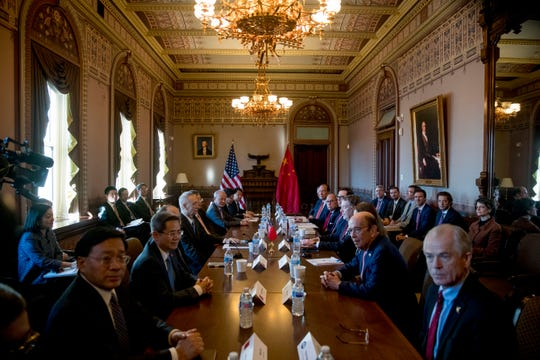US-China trade talks begin between Trump Administration officials, and Chinese officials in the Diplomatic Room of the Eisenhower Executive Office Building on the White House Complex, Wednesday, Jan. 30, 2019, in Washington.
