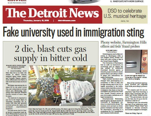 The front page of the Detroit News on January 31, 2019.