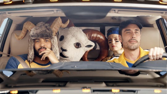 Fiat Chrysler has been releasing ads online in the run-up to the Super Bowl, including this one following a herd of rams making their way from California to the game in Atlanta.