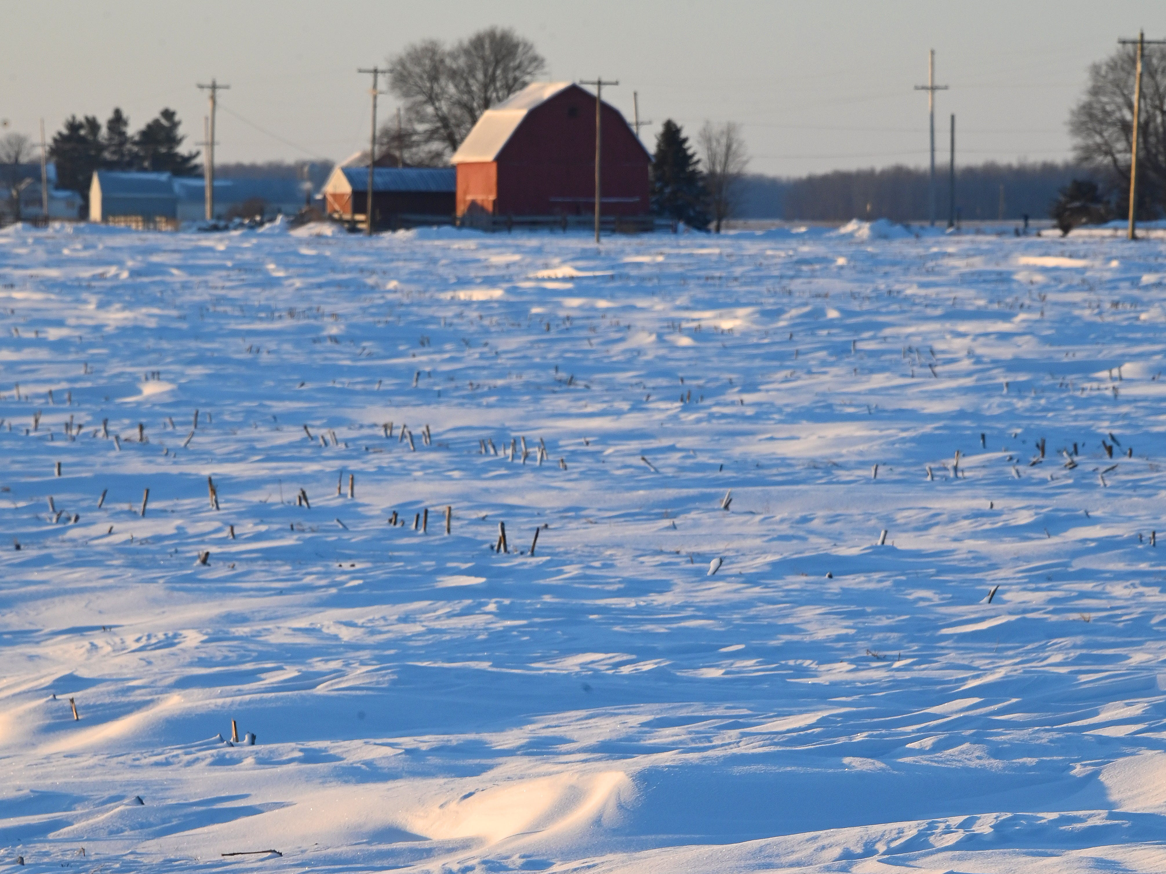 A weak sun rises above frozen fields and farms in mid Michigan near Maple Rapids on Thursday, Jan 31, 2019. Single-digit high temps are forecast for the day.