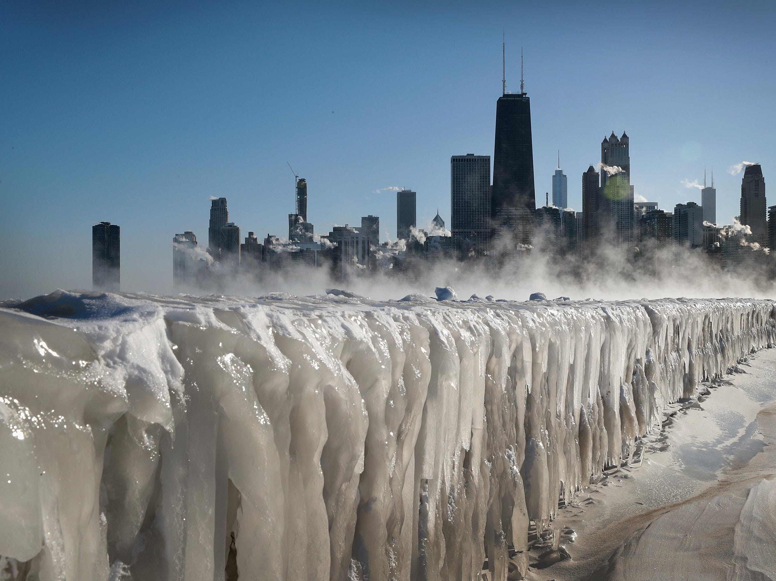 Ice covers the Lake Michigan shoreline on January 30, 2019 in Chicago, Illinois.
