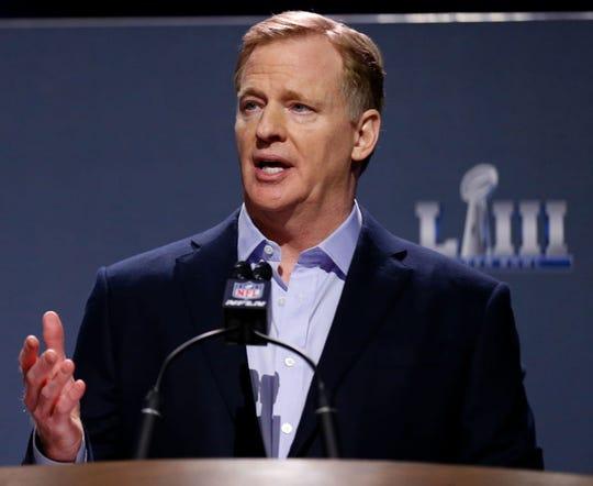 NFL Commissioner Roger Goodell speaks during a press conference during Super Bowl LIII Week at the NFL Media Center.