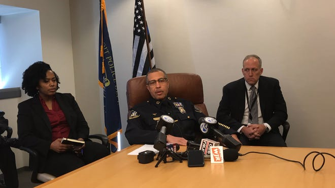 Detroit Police Chief James Craig holds a press conference Thursday at Detroit Police Headquarters regarding an officer who has been removed from the department.