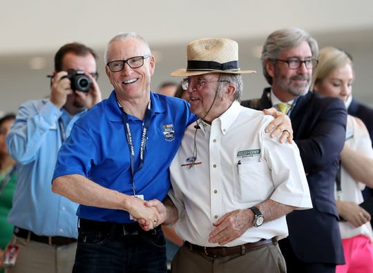 Mark Martin congratulates Jack Roush after Roush is voted into the Hall of Fame during the NACAR Hall of Fame Voting Day on May 23, 2018 in Charlotte, North Carolina.
