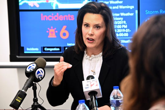 Gov. Gretchen Whitmer holds an update meeting and then answers a few questions from the media at the State Emergency Operations Center near Dimondale on Thursday.