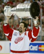 Forward Brendan Shanahan helped the Red Wings win three Stanley Cup championships.