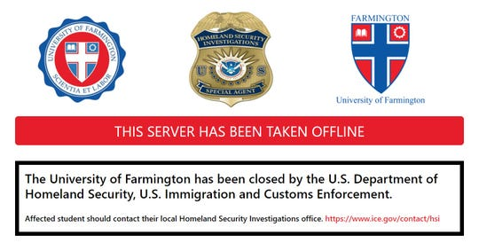 Federal agents shut down the University of Farmington website Thursday.