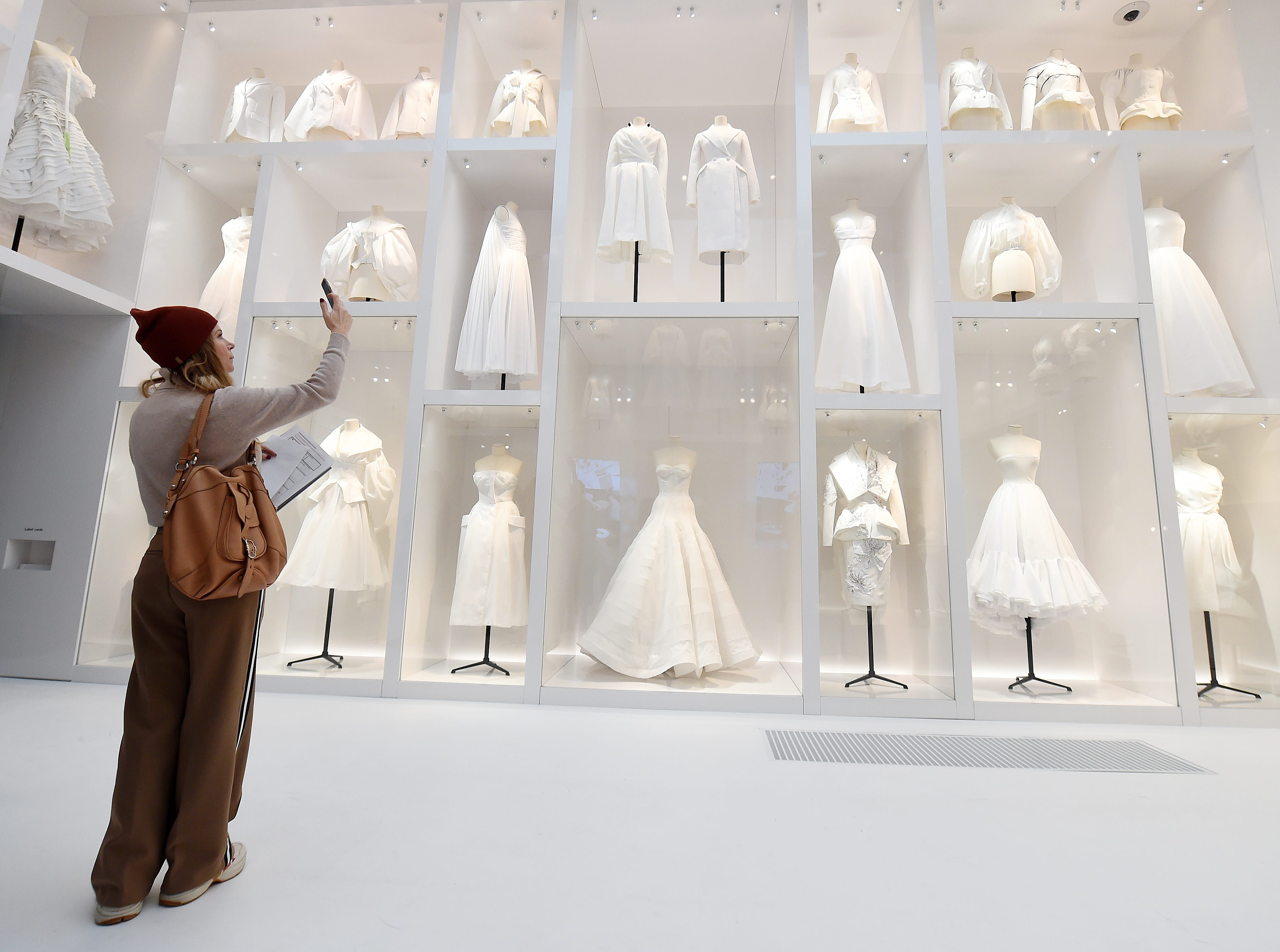 """Designer pieces are on display during the """"Christian Dior: Designer of Dreams"""" exhibition at Victoria & Albert Museum on January 30, 2019, in London, England."""