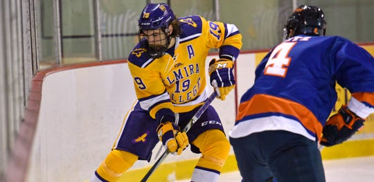 Anthony Parucci (19) of Elmira College plays against Stevenson on Dec. 8, 2018.