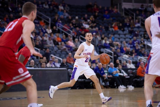 Evansville's Shea Feehan (21) looks for an opening against Bradley during their game at the Ford Center Wednesday night.