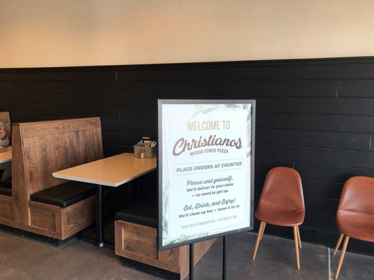 Booths are also a seating option for those eating at Christianos.
