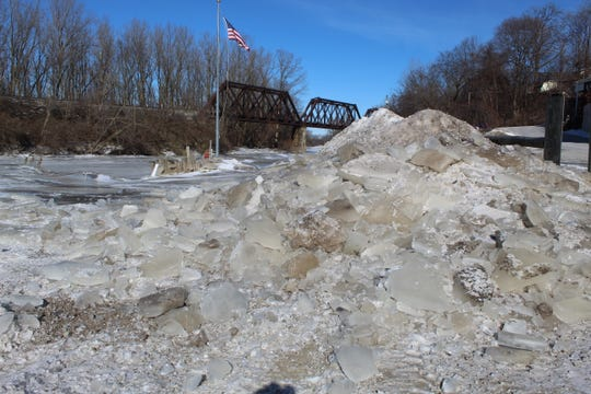 Ice jams from the Sandusky River pile up near the Tackle Box restaurant on Thursday, as temperatures remained below zero for most of the day. The Sandusky County EMA is keeping an eye on the river this weekend and into next week, as warmer weather could result in flooding along parts of the river.