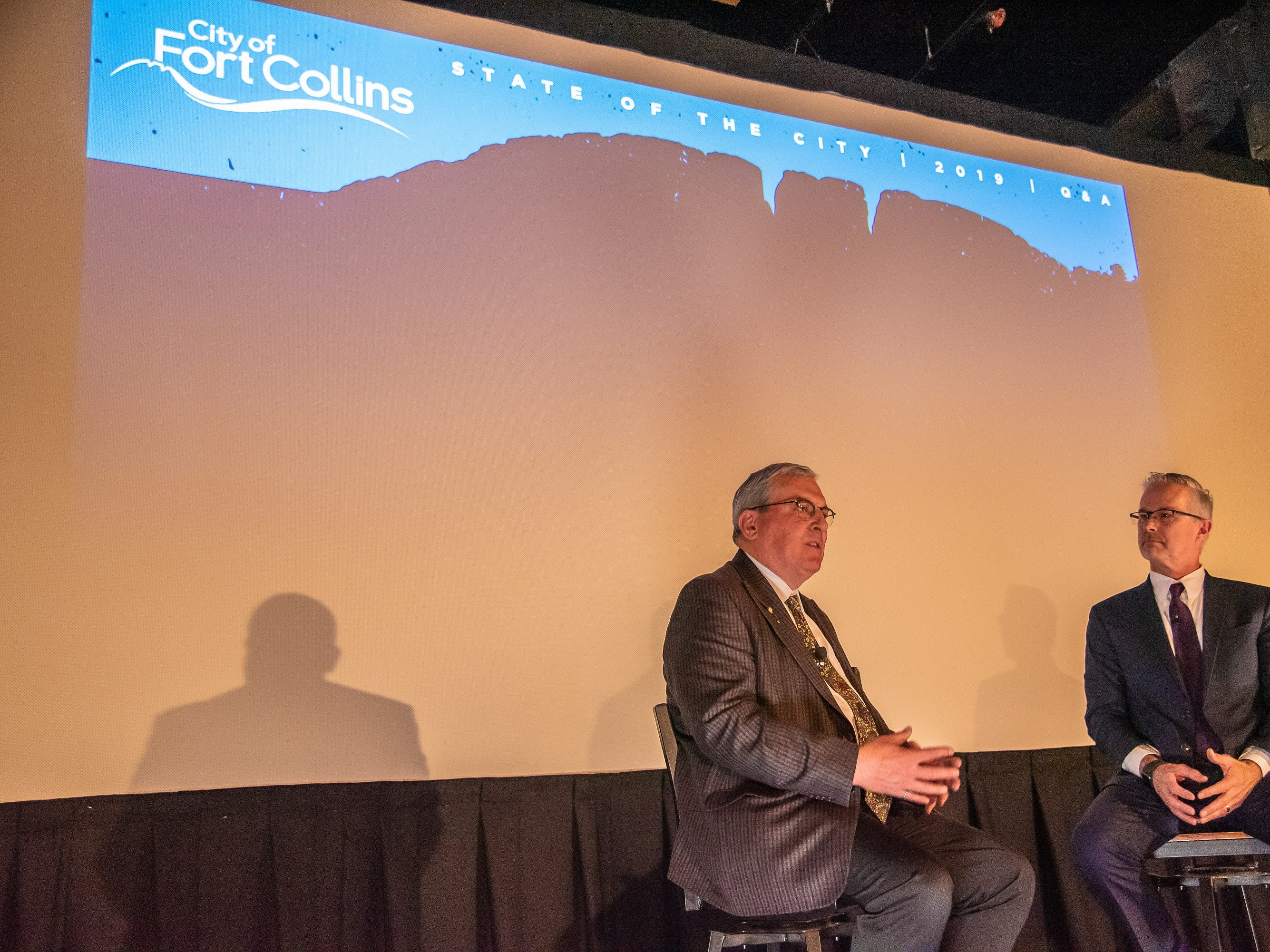 Fort Collins mayor Wade Troxell and City Manager Darin Atteberry address the crowd during the annual State of the City Address on Tuesday, January 29, 2019, at the Lyric Cinema in Fort Collins, Colo.