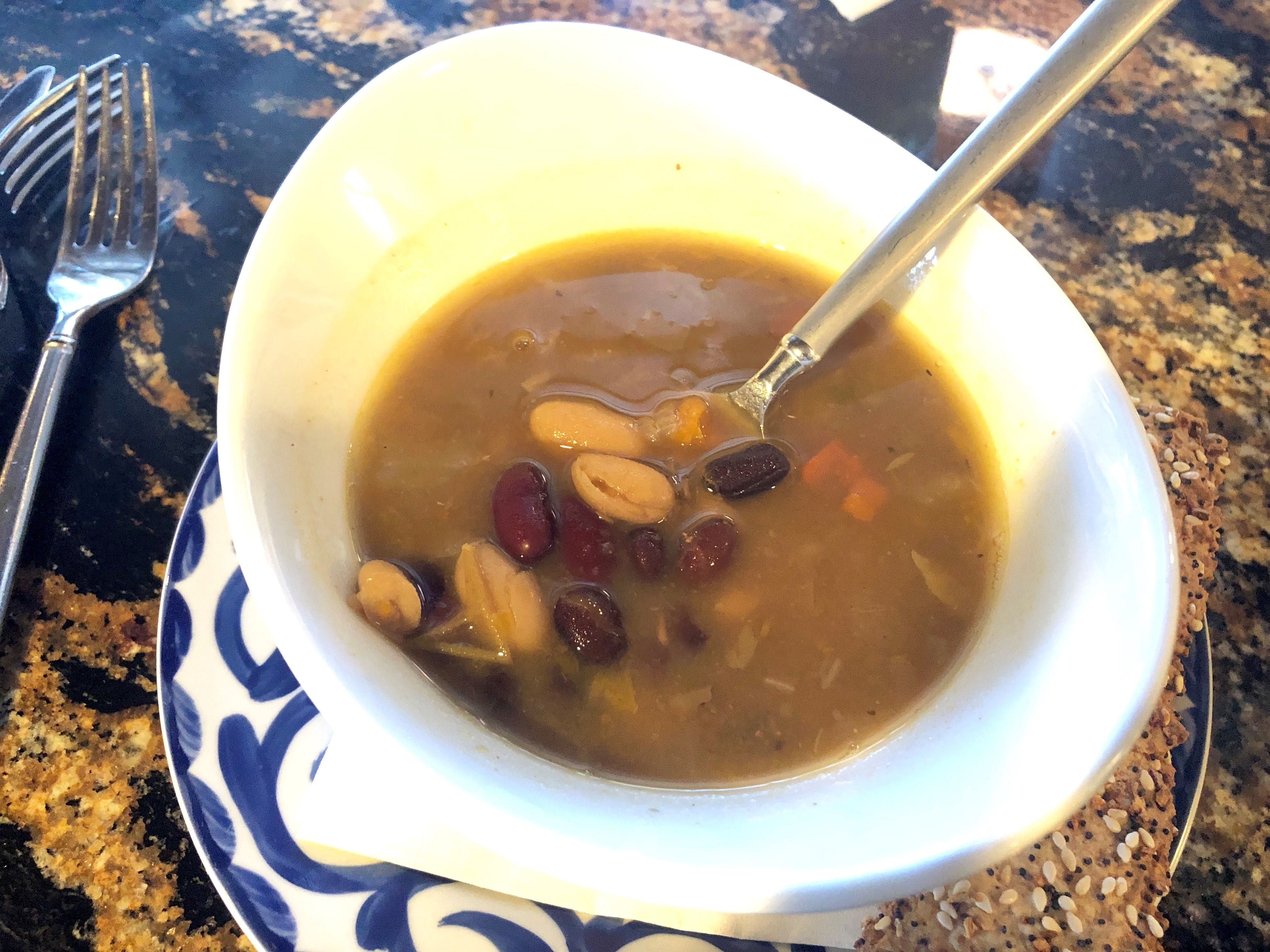 A simple but deeply flavorful bean soup ($8) from Malia Island Fusion.