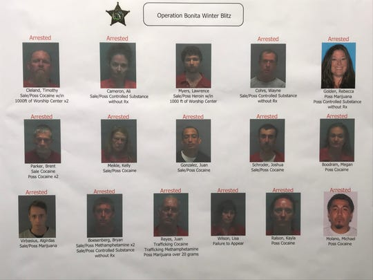 Authorities arrested 15 in a bust targeting drug dealers operating in Bonita Springs dubbed Operation Winter Blitz.