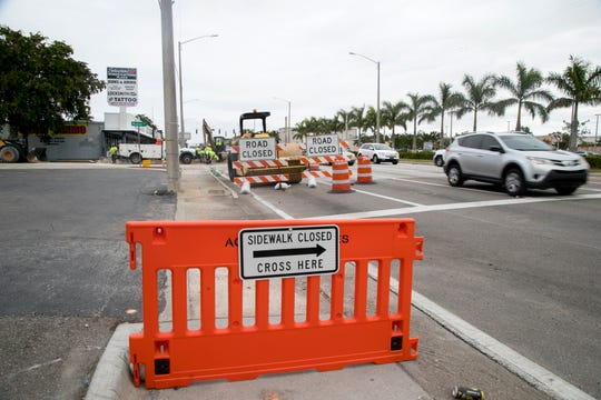 Two of the six lanes are blocked because of road construction on U.S. 41 in Fort Myers.