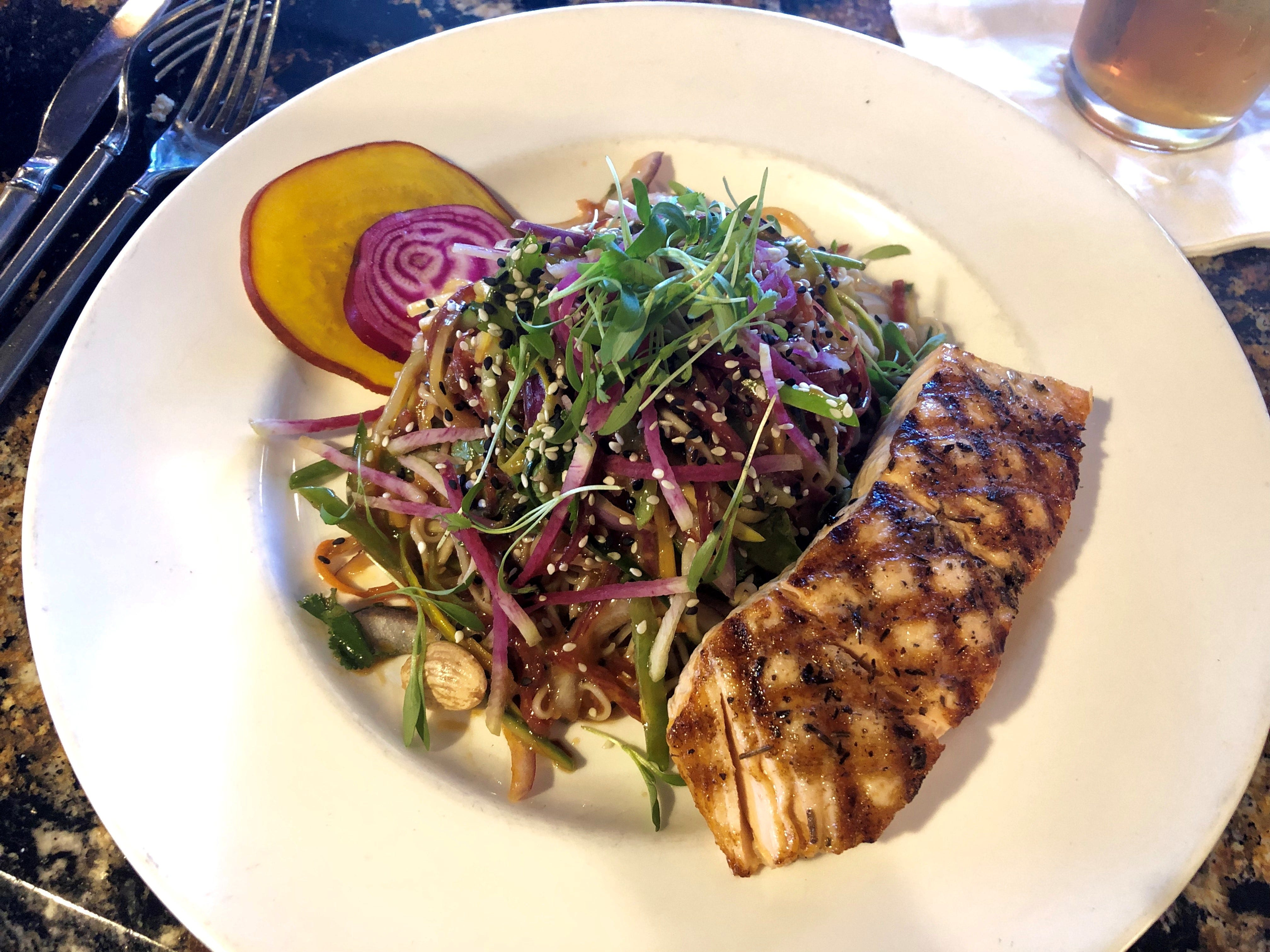 The Thai noodle salad is on the lunchtime menu at Malia Island Fusion on Sanibel. Shown here with salmon for $22, the dish starts at $14.