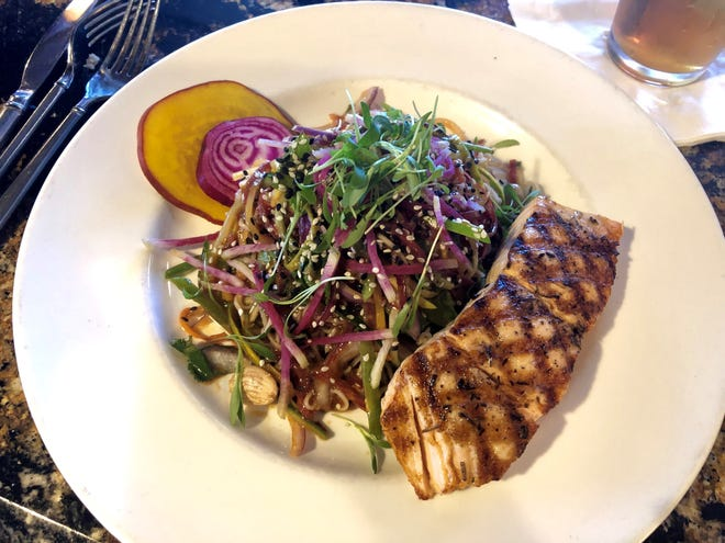 Malia Island Fusion on Sanibel was one of JLB's favorite restaurants of 2019. The Thai noodle salad with salmon is shown here.