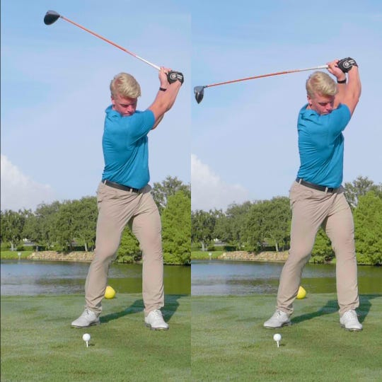 Florida Gulf Coast University student Thor Parrish demonstrates a three-quarter golf swing (left) and a full swing (right). FGCU researchers believe its better for golfers to use the three-quarter swing.