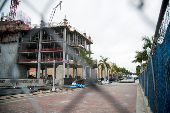 Edwards Drive in downtown Fort Myers is blocked during construction of the Luminary Hotel.