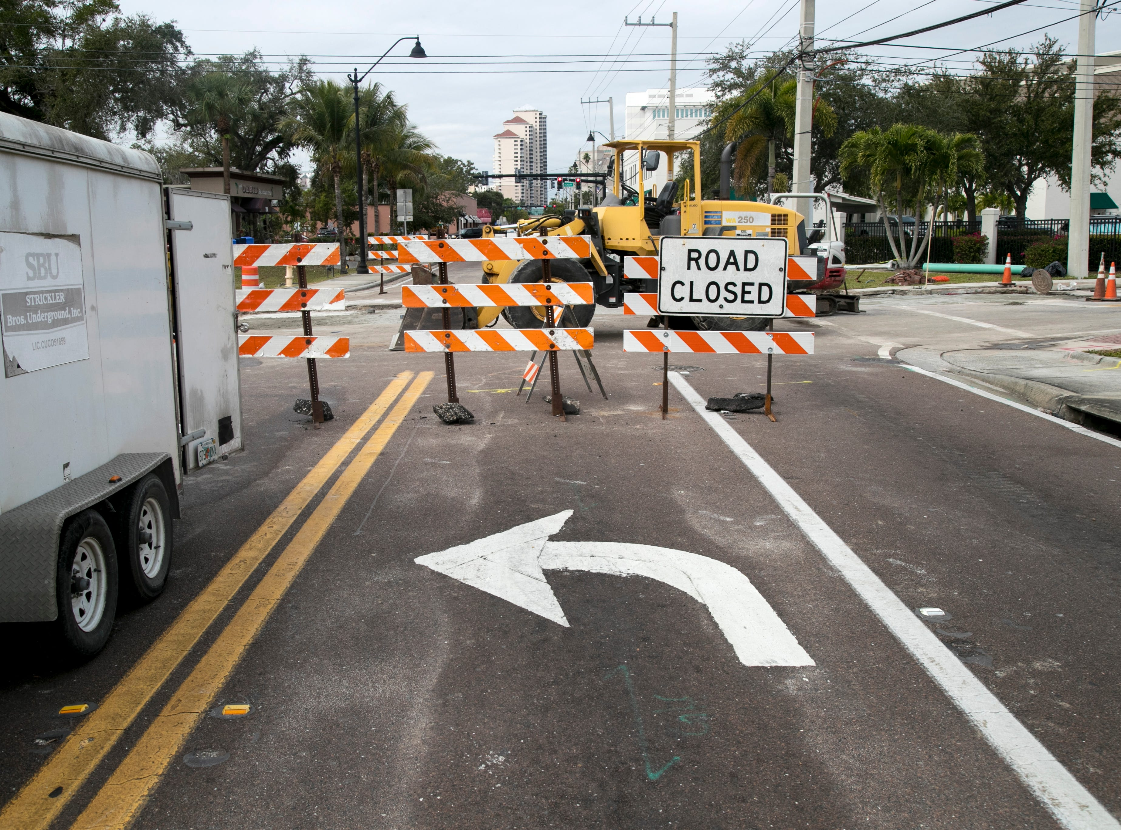 Dr. Martin Luther King Jr. Boulevard in downtown Fort Myers is blocked at Jackson Street.