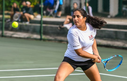 Anika Sachdev is shown in this file photo at the Rick Ninete Tennis Center in Hagåtna.