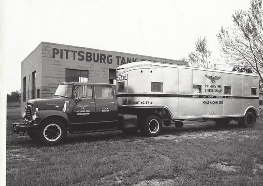 A fleet of shiny trucks and trailers helped burnish the image of Pittsburg Tank & Tower Co., which proudly declared itself the largest tank repair company in America.