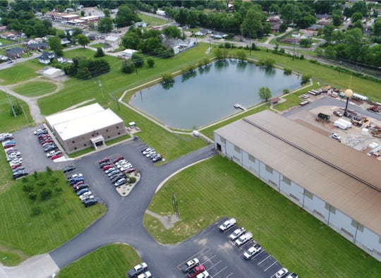 A state-of-the-art metal fabrication shop (at right) and headquarters (at left) make up the Henderson presence of locally based Pittsburg Tank & Tower Group, which also includes an even larger local plant for Allstate Tower Co.