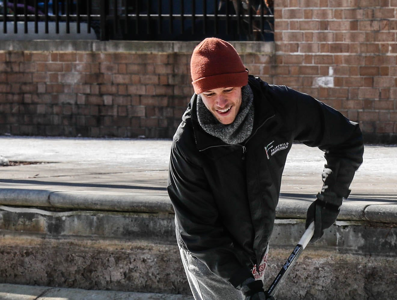 Charlie Hornett, shown here, and friends Chase Fairchild Jackson Richey get some free ice time to practice hockey skills on the downtown canal in Indianapolis on Thursday, Jan. 31, 2019.
