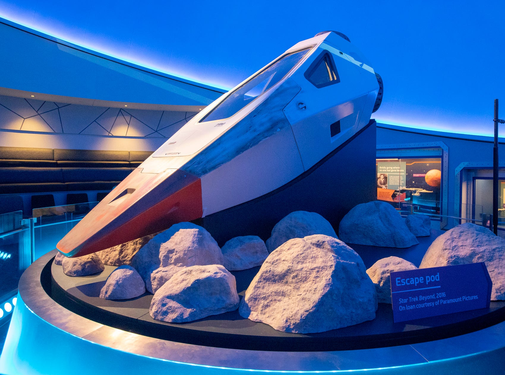 """An escape pod from the 2016 film """"Star Trek Beyond"""" is seen at The Children's Museum of Indianapolis, Wednesday, Jan. 23, 2019. The """"Star Trek: Exploring New Worlds"""" exhibit is made up of set pieces, ship models and outfits used during various Star Trek shows and movies and is on display at the museum from Feb. 2 through April 7, 2019."""