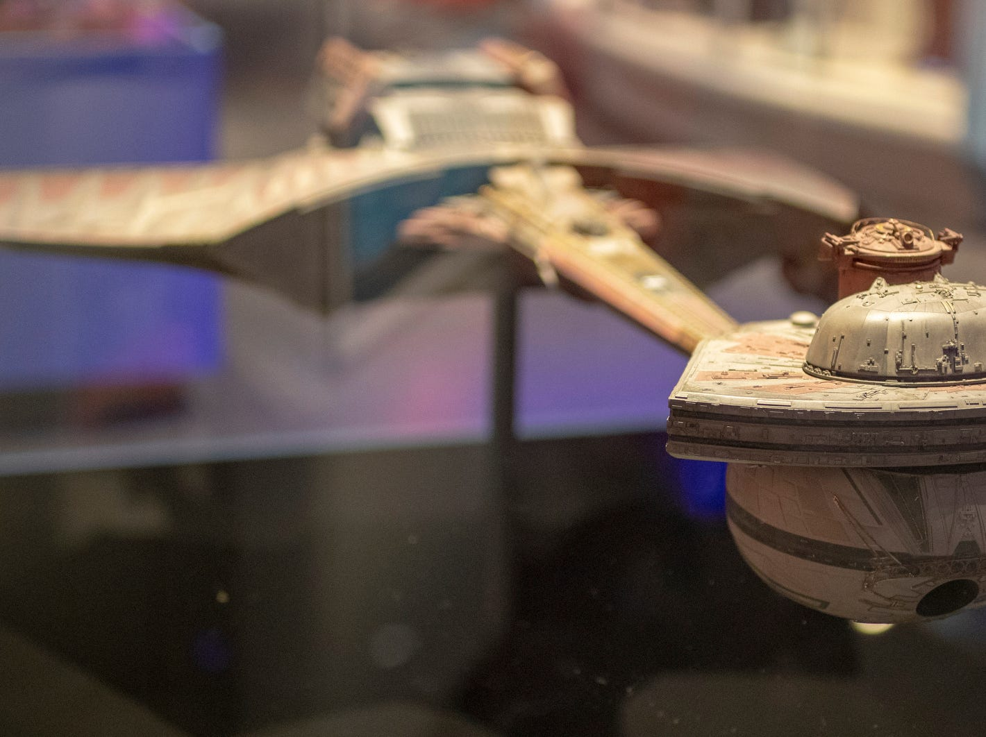 """A miniature of the Klingon K't'inga-class battle cruiser, which debuted in """"Star Trek: The Motion Picture,"""" is seen at The Children's Museum of Indianapolis, Indianapolis, Wednesday, Jan. 23, 2019. The """"Star Trek: Exploring New Worlds"""" exhibit is made up of set pieces, ship models and outfits used during various Star Trek shows and movies and is on display at the museum from Feb. 2 through April 7, 2019."""