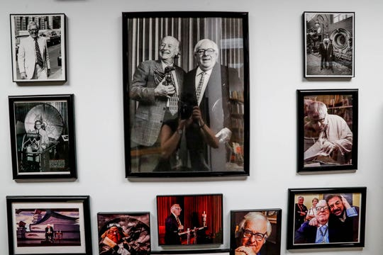 Photographs of American author Ray Bradbury are on display inside the Center for Ray Bradbury Studies located at Cavanaugh Hall on the IUPUI campus.