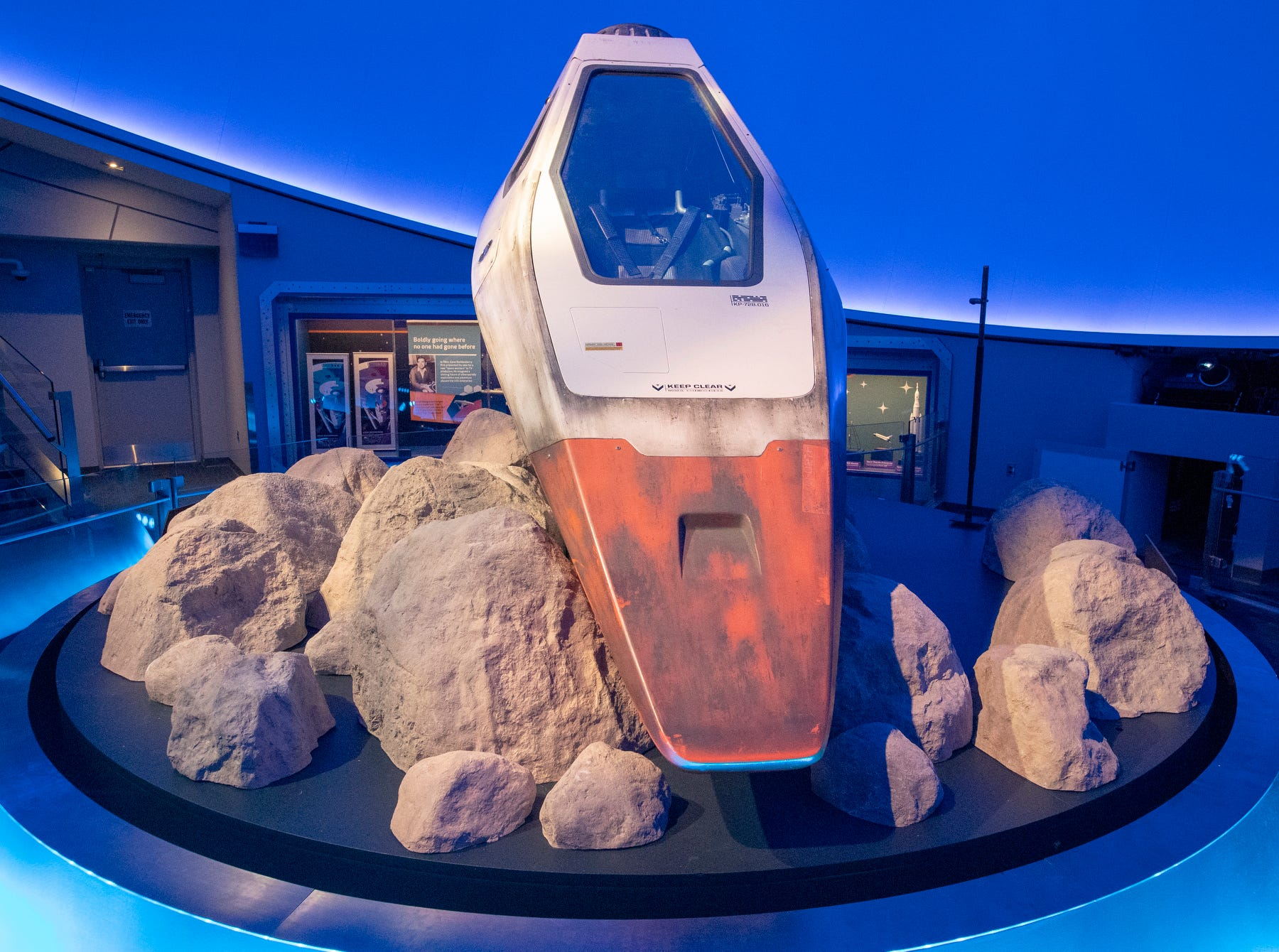 """An escape pod from the 2016 movie """"Star Trek Beyond"""" is seen at The Children's Museum of Indianapolis, Wednesday, Jan. 23, 2019. The """"Star Trek: Exploring New Worlds"""" exhibit is made up of set pieces, ship models and outfits used during various Star Trek shows and movies and is on display at the museum from Feb. 2 through April 7, 2019."""