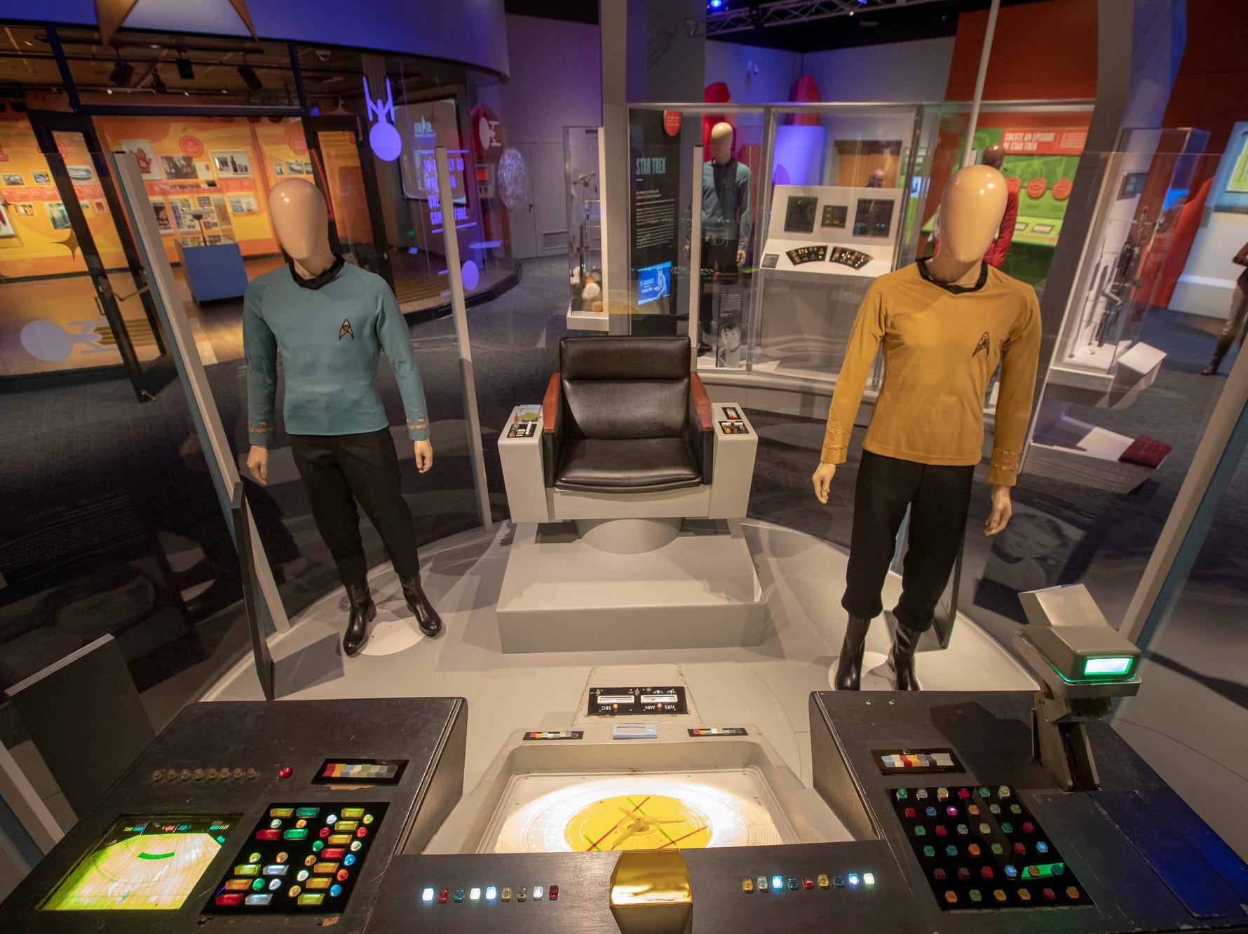 """The bridge from the original """"Star Trek"""" TV show is seen at The Children's Museum of Indianapolis, Wednesday, Jan. 23, 2019. The """"Star Trek: Exploring New Worlds"""" exhibit is made up of set pieces, ship models and outfits used during various Star Trek shows and movies and is on display at the museum from Feb. 2 through April 7, 2019."""