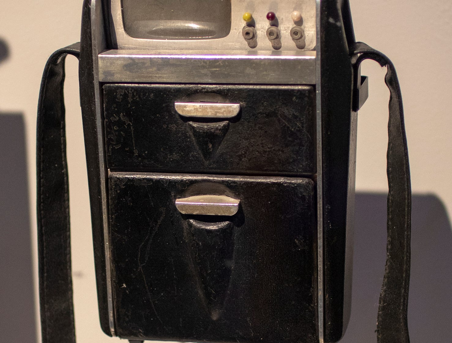 """A tricorder from the original """"Star Trek"""" series is seen at The Children's Museum of Indianapolis, Wednesday, Jan. 23, 2019. The """"Star Trek: Exploring New Worlds"""" exhibit is made up of set pieces, ship models and outfits used during various Star Trek shows and movies and is on display at the museum from Feb. 2 through April 7, 2019."""