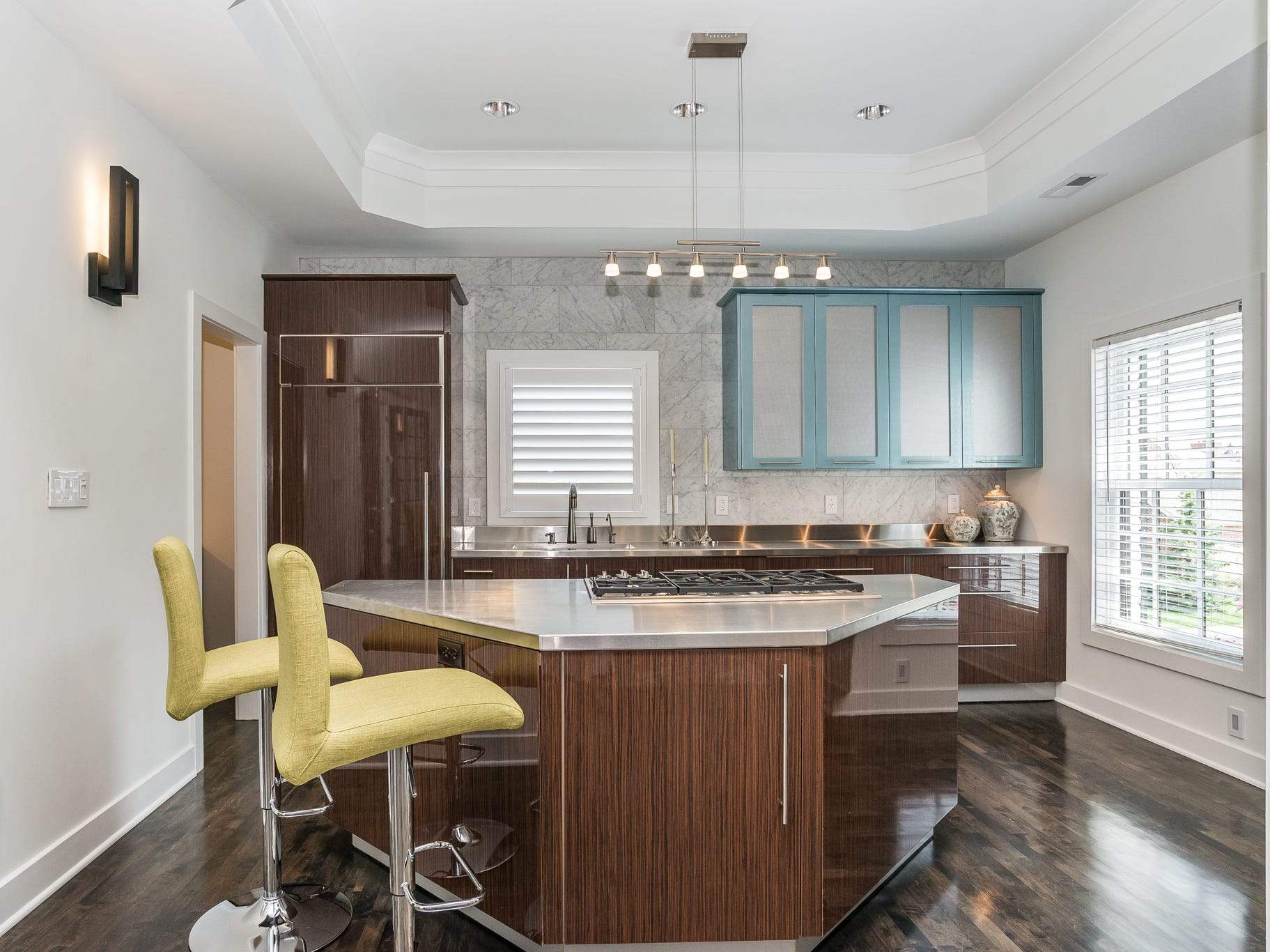 Owners stock the fridge with champagne, bottled water and snacks for each guest. The kitchen also includes cookware.