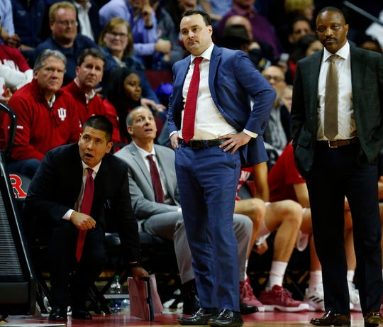 Indiana Hoosiers coach Archie Miller (center) looks on from the sidelines against the Rutgers Scarlet Knights during the second half at Rutgers Athletic Center.