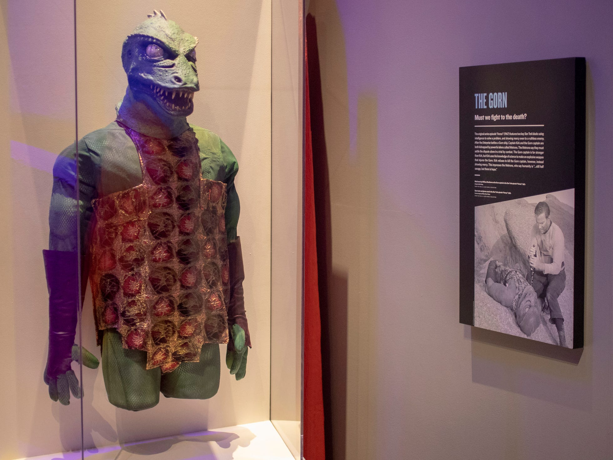 """A display featuring a Gorn, an extraterrestrial whom Captain Kirk famously fights in the original """"Star Trek"""" series, is seen at The Children's Museum of Indianapolis, Wednesday, Jan. 23, 2019. The """"Star Trek: Exploring New Worlds"""" exhibit is made up of set pieces, ship models and outfits used during various Star Trek shows and movies and is on display at the museum from Feb. 2 through April 7, 2019."""