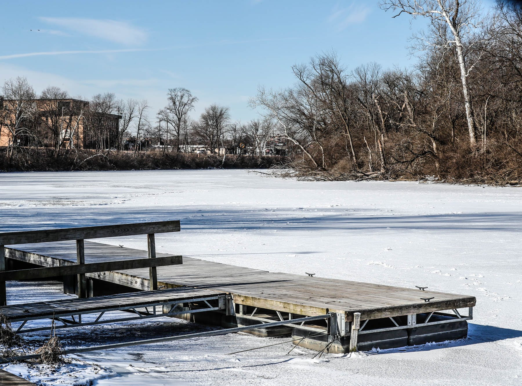 White River freezes over at the Broad Ripple Park boat ramp in near sub-zero temperatures on Thursday, Jan. 31, 2019.