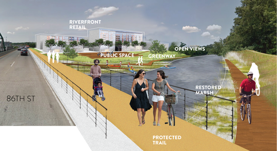 A rendition released by planners in January 2019 depicting proposed amenities on the White River near 86th Street. One suggestion is to create an integrated bike and kayak networking trail with a bridge on 86th Street.