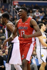 Washington Wizards center Thomas Bryant (13) reacts against the Indiana Pacers.