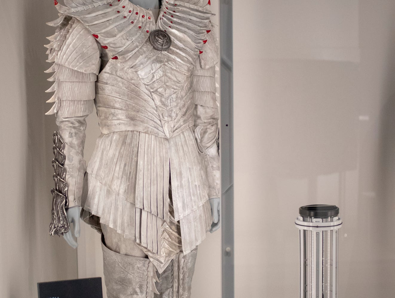 """An outfit worn by the Klingon character L'Rell from the franchise's current show, """"Star Trek: Discovery,"""" is seen at The Children's Museum of Indianapolis, Wednesday, Jan. 23, 2019. The """"Star Trek: Exploring New Worlds"""" exhibit is made up of set pieces, ship models and outfits used during various Star Trek shows and movies and is on display at the museum from Feb. 2 through April 7, 2019."""