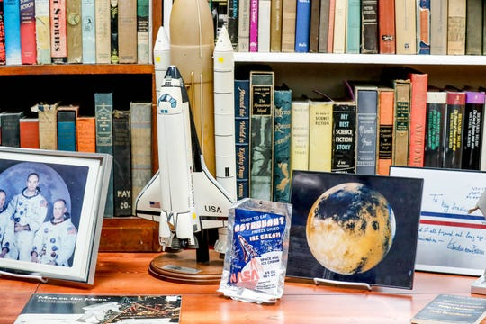 Items from American author Ray Bradbury's home office have been painstakingly re-assembled to re-create the writer's workspace inside the Center for Ray Bradbury Studies located at Cavanaugh Hall on the IUPUI campus.